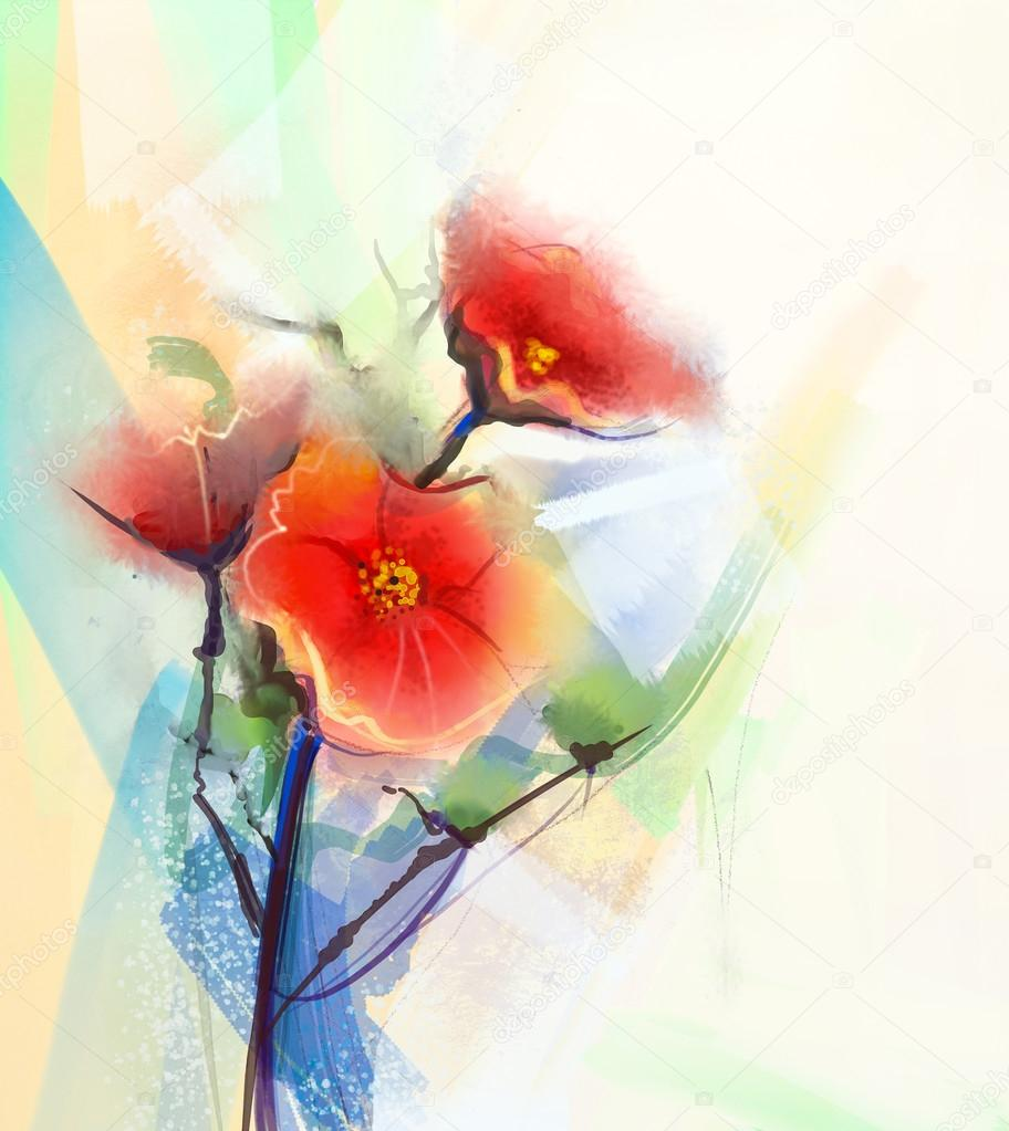 Abstract floral watercolor paintings.Red poppy flowers in soft color ...