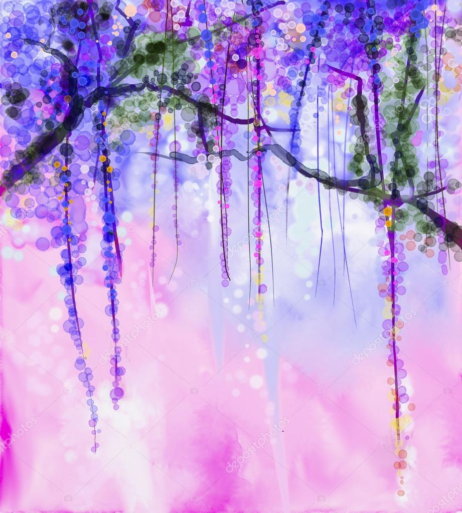Abstract flowers watercolor painting. Spring purple flowers Wisteria with bokeh background