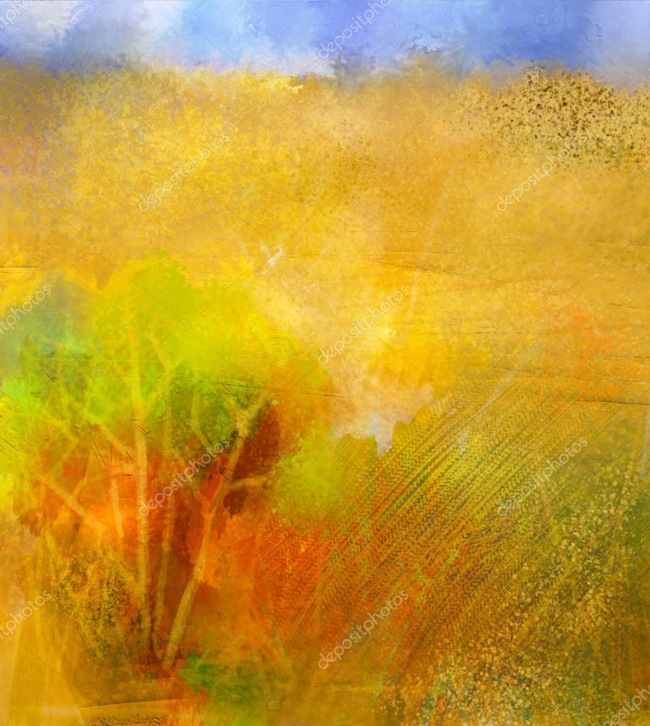 Abstract colorful oil painting landscape on canvas. Semi- abstract image of tree in yellow and green with blue sky. Spring season nature. grunge yellow texture background