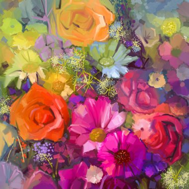 Still life of yellow and red colour flowers .Oil painting a bouquet of rose,daisy and gerbera flowers . Hand Painted floral Impressionist style.