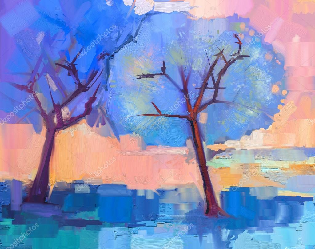 Abstract colorful oil painting landscape on canvas. Semi- abstract image of trees in blue. Spring season nature background