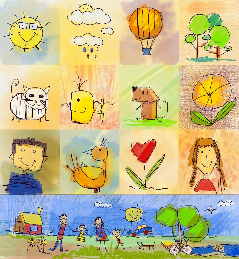 Collection of cute drawings of kids, Children's Drawing Styles. Seamless and multicolored symbols set with  human family, animals, nature, objects on colorful background. Happy family concept