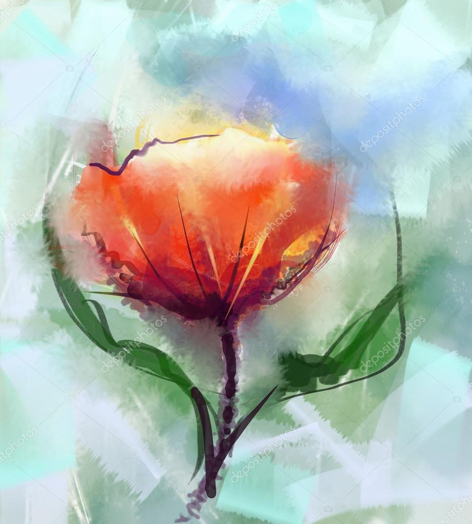 Closeup abstract floral paintings watercolor painting red poppy watercolor painting red poppy flower mix oil painting in backgroundspring floral nature in soft green color background photo by nongkranch mightylinksfo Choice Image