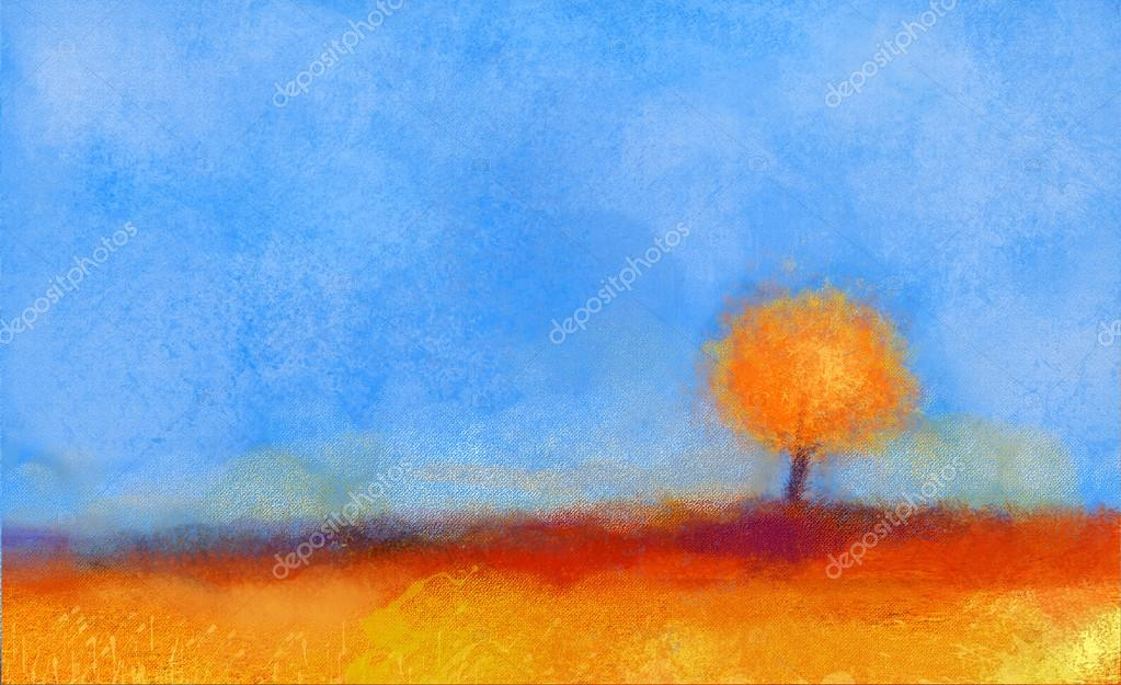 Abstract landscape, tree and field oil painting