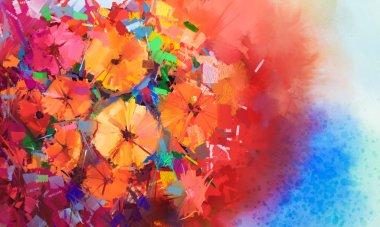 """Картина, постер, плакат, фотообои """"Абстрактная картина маслом букет цветы герберы .Closeup натюрморт цветы красного цвета с мягким красным и синим цветом фона."""", артикул 78802128"""