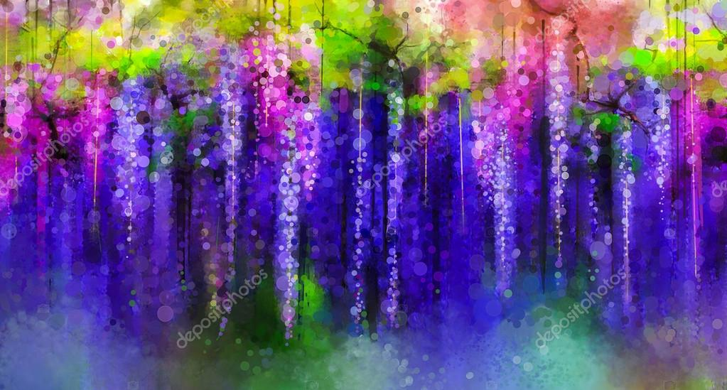 Abstract violet, red and yellow color flowers. Watercolor painting. Spring purple flowers Wisteria tree in blossom