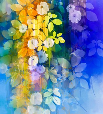 Abstract flowers watercolor painting. Hand paint White flower with soft green leaves on blue and green color background. Spring flower seasonal nature