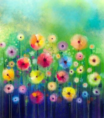 """Картина, постер, плакат, фотообои """"абстрактная цветочная акварель. желтые и красные цветы мягкого цвета на зеленом фоне. весенний цветок """", артикул 80678342"""