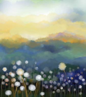 Abstract oil painting white flowers field in soft color. Oil paintings white dandelion flower in the meadows