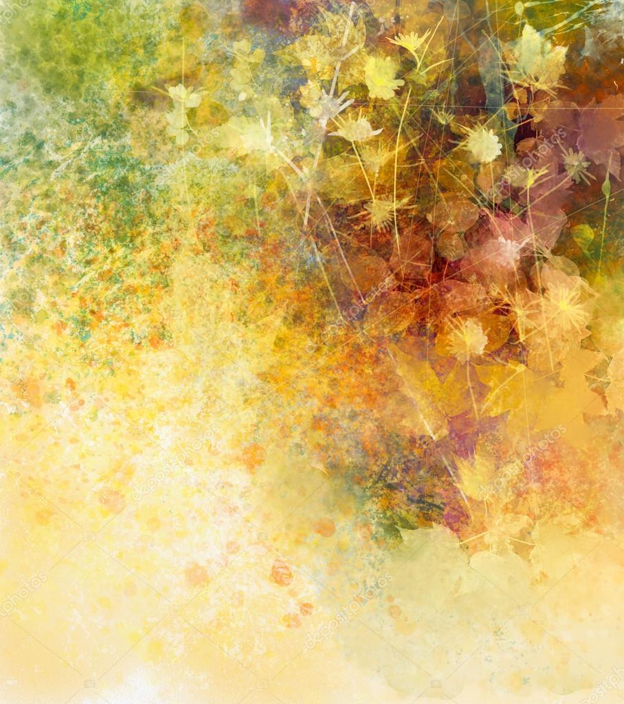 Genoeg Abstract aquarel schilderij van witte bloemen en zachte kleur &VR09