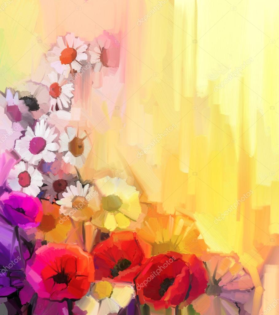 Oil painting Still life of white,yellow and red color flowers. Hand Paint a bouquet of poppy, daisy and gerbera flower on yellow and orange background