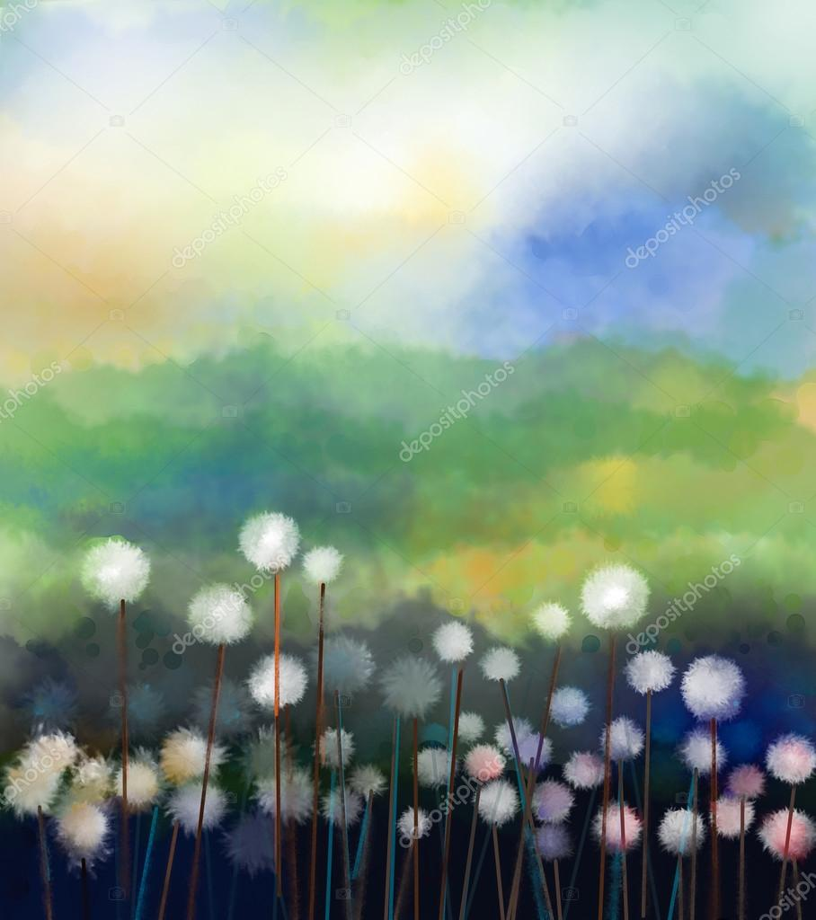 Abstract oil painting white flowers field in soft color. Oil pai
