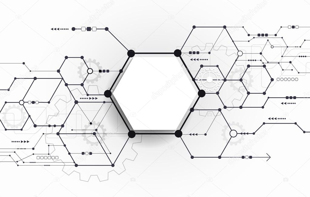 Vector Abstract futuriste circuit imprimé sur fond gris clair ...