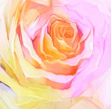 Oil Painting Close up of white rose.  Hand Painted petals floral