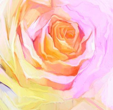 """Картина, постер, плакат, фотообои """"живопись маслом закрыть белую розу. цветочные лепестки стиль"""", артикул 82591850"""