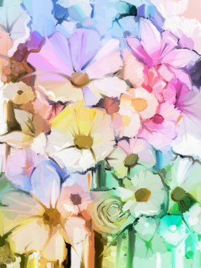 """Картина, постер, плакат, фотообои """"Картина маслом Мягкий красочный букет из розы, ромашки, лилии и герберы цветок"""", артикул 82592250"""