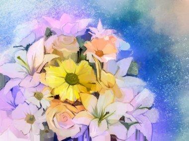 """Картина, постер, плакат, фотообои """"Картина маслом Мягкий красочный букет из розы, ромашки, лилии и герберы цветок."""", артикул 82592564"""