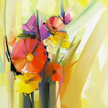 Abstract oil painting of spring flower. Still life of yellow and red gerbera flowers