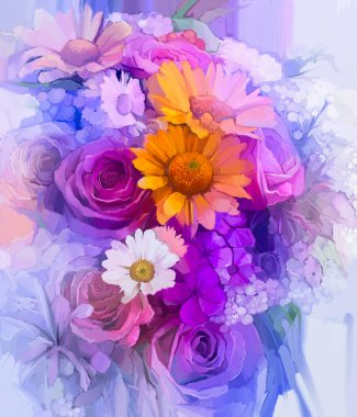 Still life of yellow, red and pink color flower. Oil Painting - Colorful Bouquet of rose, daisy and gerbera flowers.