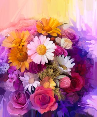 Still life of yellow, red and pink color flower. Oil Painting - Colorful Bouquet of rose, daisy and gerbera flowers