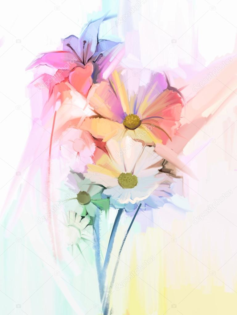 Still life of white color flowers with soft pink and purple. Oil Painting Soft colorful Bouquet of daisy, lily and gerbera flower