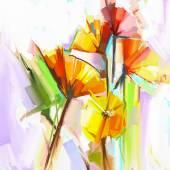 Fotografie Abstraktní malba olej, jarní květiny. Zátiší žluté