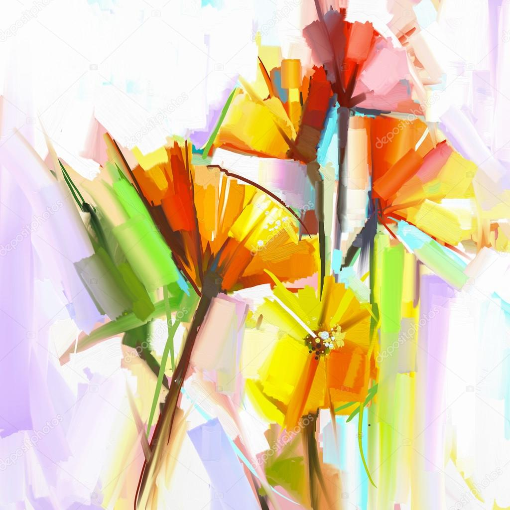 Abstract oil painting of spring flowers. Still life of yellow an