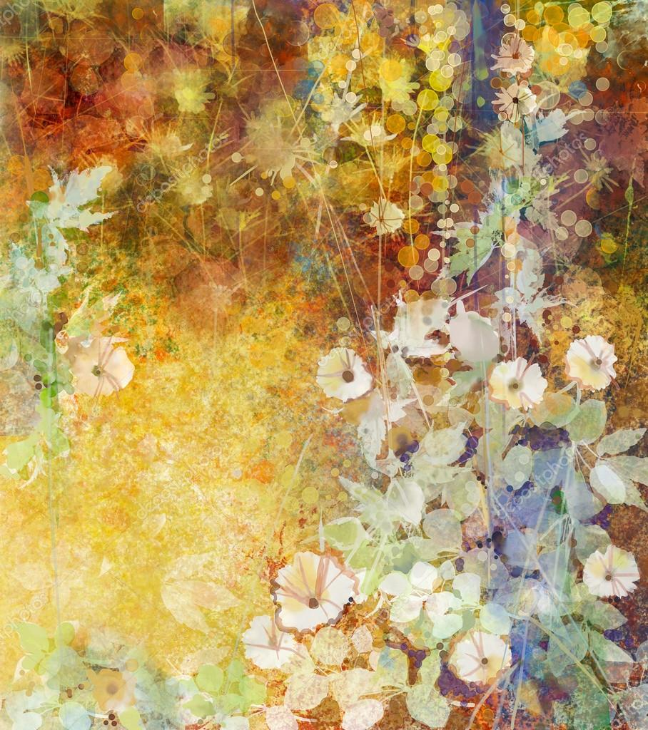 Watercolor painting white flowers and soft green leaves. Yellow-brown color texture on grunge paper background
