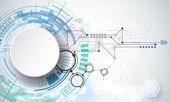 Vektorové ilustrace strojírenské technologie. Integrace a inovace technologií koncept s 3d papírový štítek kruhy a prostor pro youcontent