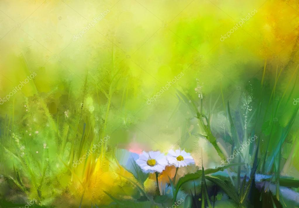 Oil painting nature green grass flowers plants. Hand paint white daisy, pastel floral and shallow depth of field.