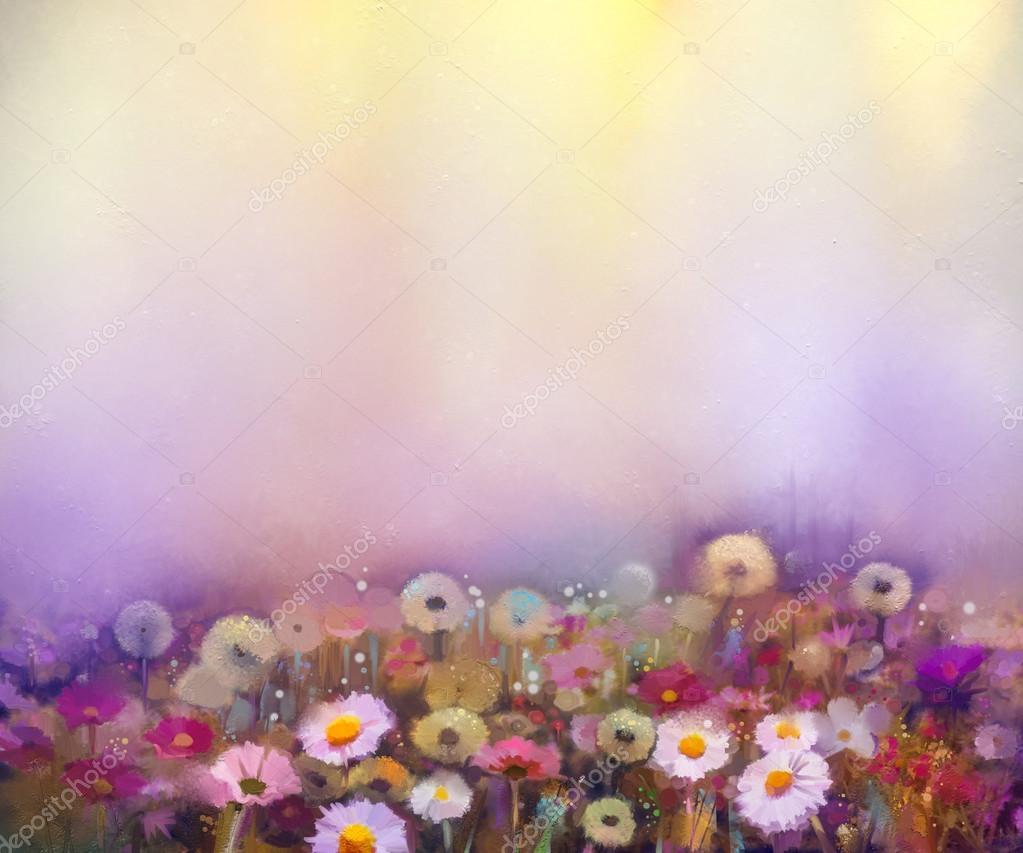 Oil painting flowers dandelion, poppy, daisy, cornflower in fields. Hand Paint Wildflowers field in summer meadow.