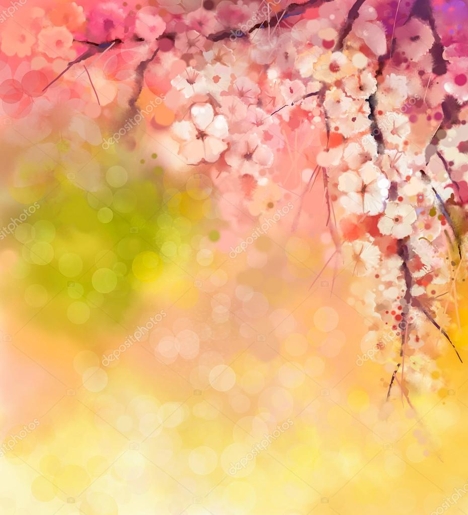 Watercolor Painting Cherry blossoms - Japanese cherry - Sakura floral in soft color over blurred nature background.