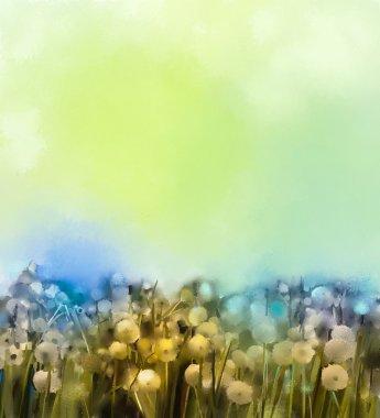 """Картина, постер, плакат, фотообои """"абстрактная живопись маслом поля белых цветов мягкого цвета. картины маслом белый цветок одуванчика на лугах . пейзаж цветы все зимний москва"""", артикул 86089848"""