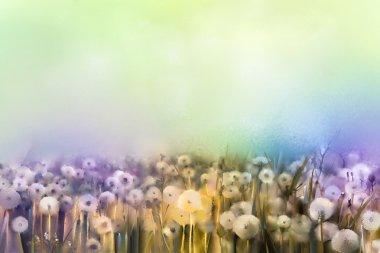"""Картина, постер, плакат, фотообои """"абстрактная живопись маслом поля белых цветов мягкого цвета. картины маслом белый цветок одуванчика на лугах ."""", артикул 86090172"""