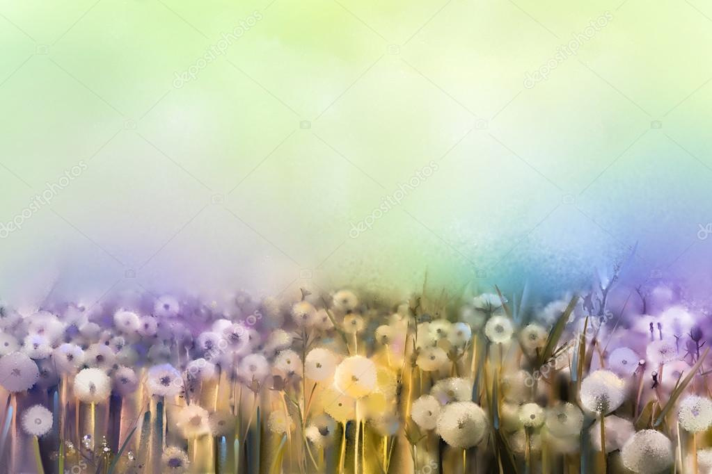 Abstract oil painting white flowers field in soft color. Oil paintings white dandelion flower in the meadows.