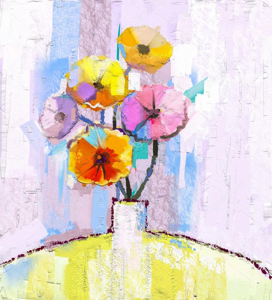 Abstract oil painting of spring flower. Still life of yellow, pink and red gerbera. Colorful Bouquet flowers in vase with light blue color background.