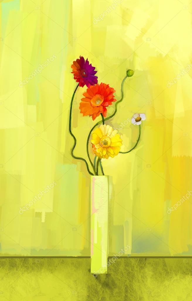 Abstract oil painting of spring flower. Still life of yellow, pink and red gerbera. Bouquet flowers in vase with light yellow-green color background.