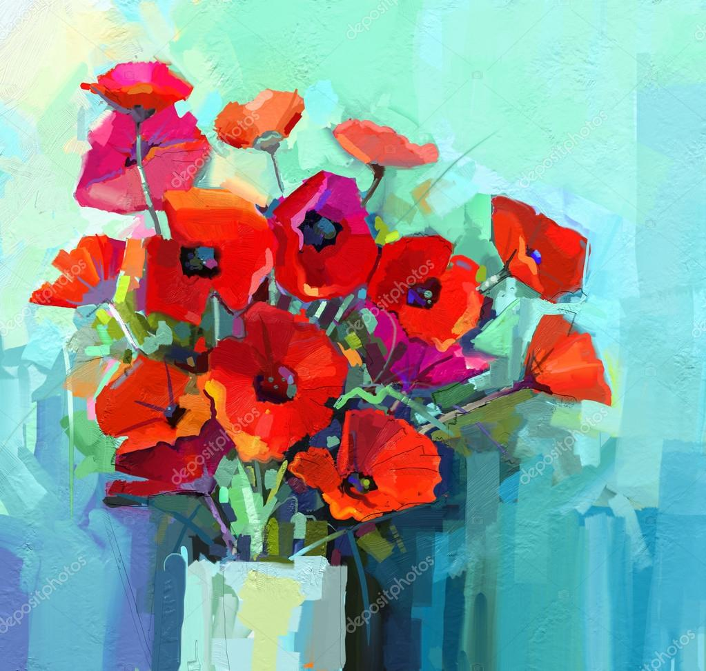 Oil Painting Still Life Of Red And Pink Color Flower Colorful