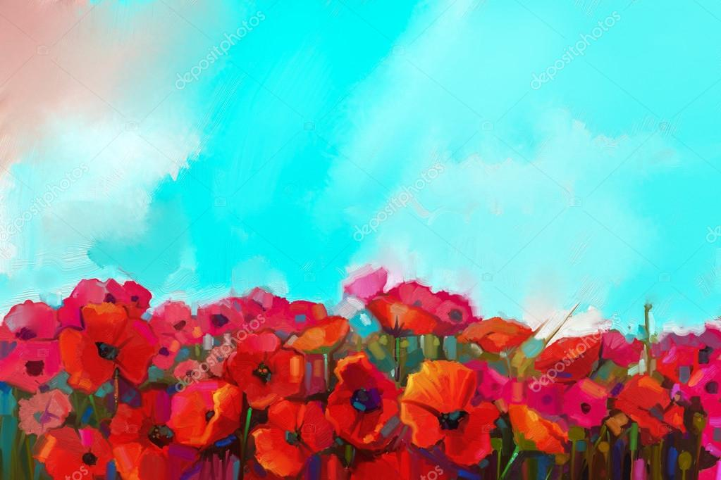 Oil painting colorful red poppy flower in the meadows stock photo colorful red poppy flower in the meadows oil painting red poppies flowers field with green and blue sky in background spring floral nature background mightylinksfo