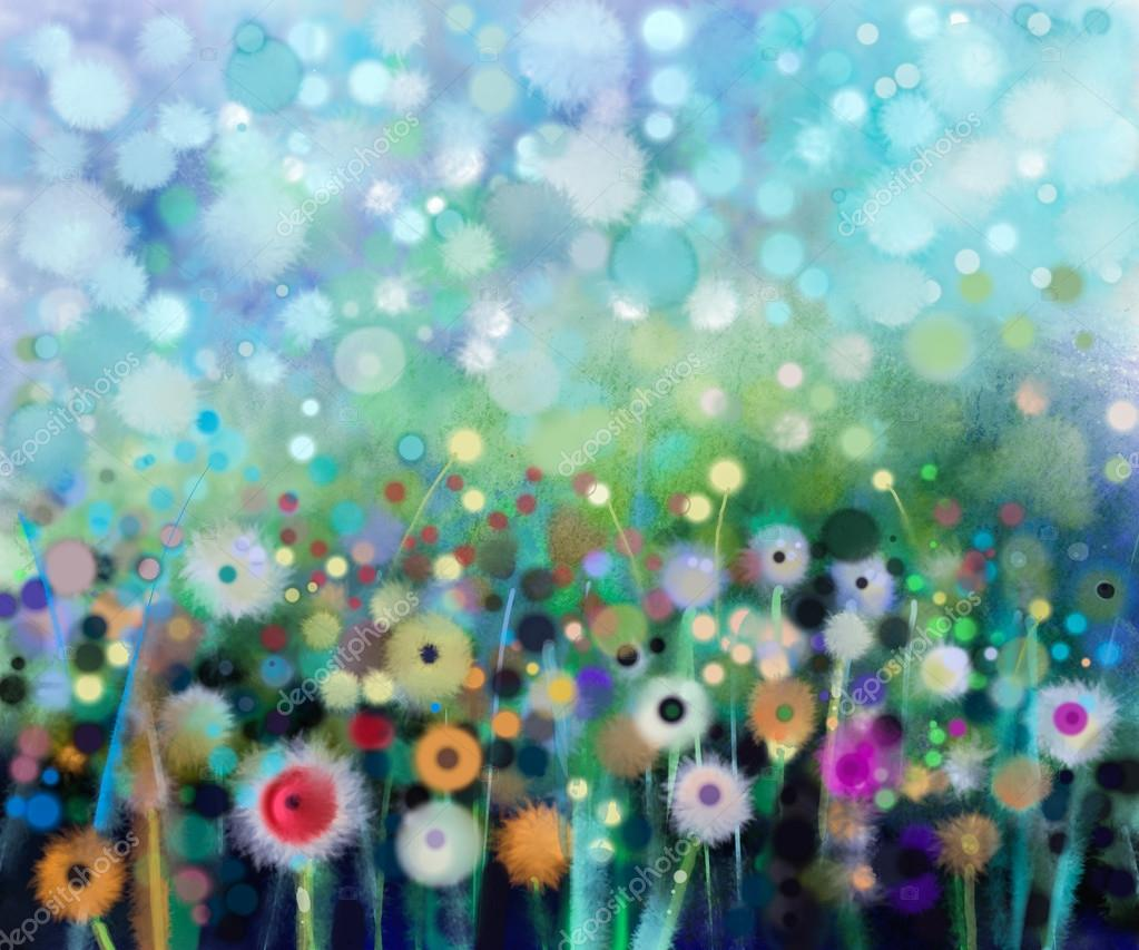 Abstract floral watercolor painting. Hand paint Yellow and white flowers dandelion in soft color on green-blue color background