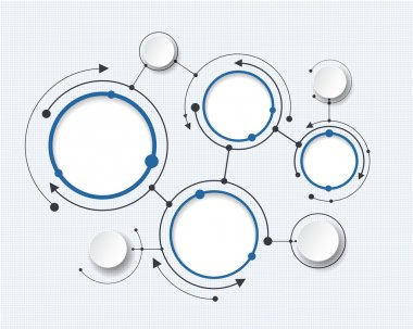 Abstract molecules with 3d paper circle. blank space for your content, infographic template
