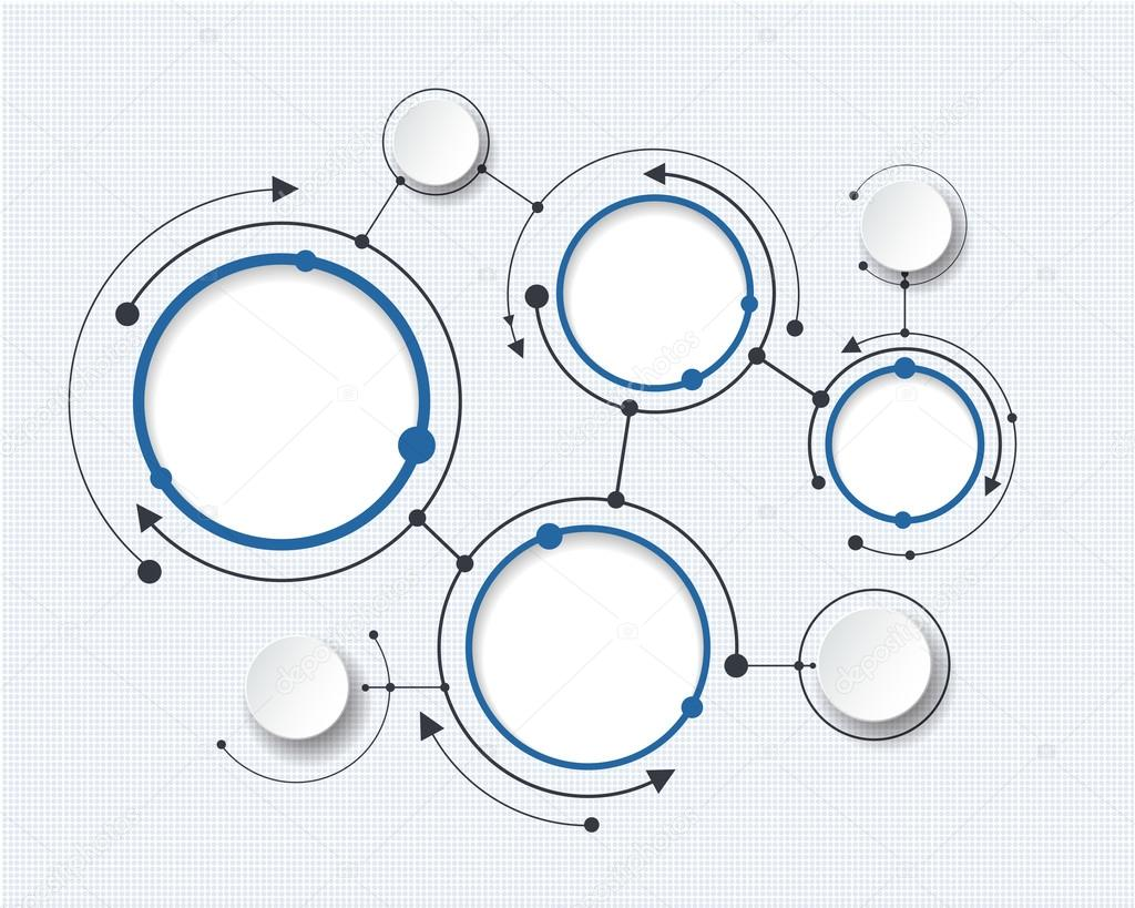 abstract molecules with 3d paper circle blank space for your