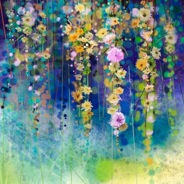 Abstract floral watercolor painting. Hand painted White, Yellow and Red flowers in soft color on blue green color background