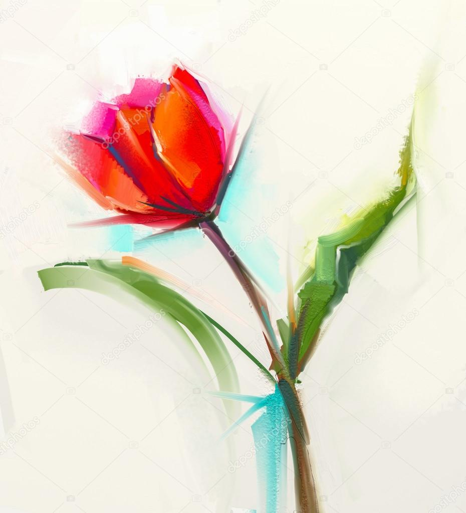 Oil painting a single Red tulip flower with green leaves.
