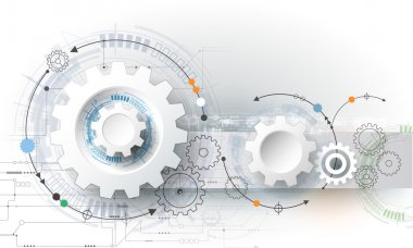 Vector illustration gear wheel, hexagons and circuit board, Hi-tech digital technology and engineering, digital telecom technology concept