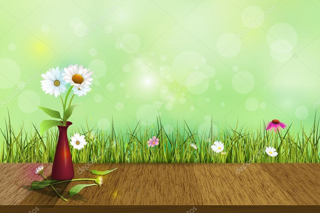 Vector white daisy flower in red vase on wood floor