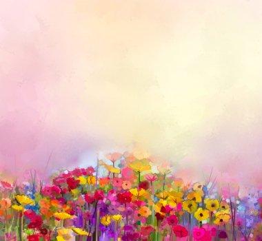 oil painting of summer-spring flowers. Cornflower, daisy flower in fields. Meadow landscape with wildflower