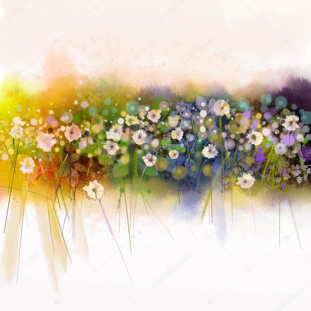 watercolor painting. Artistic hand paint white flowers on soft yellow, green, blue water color background
