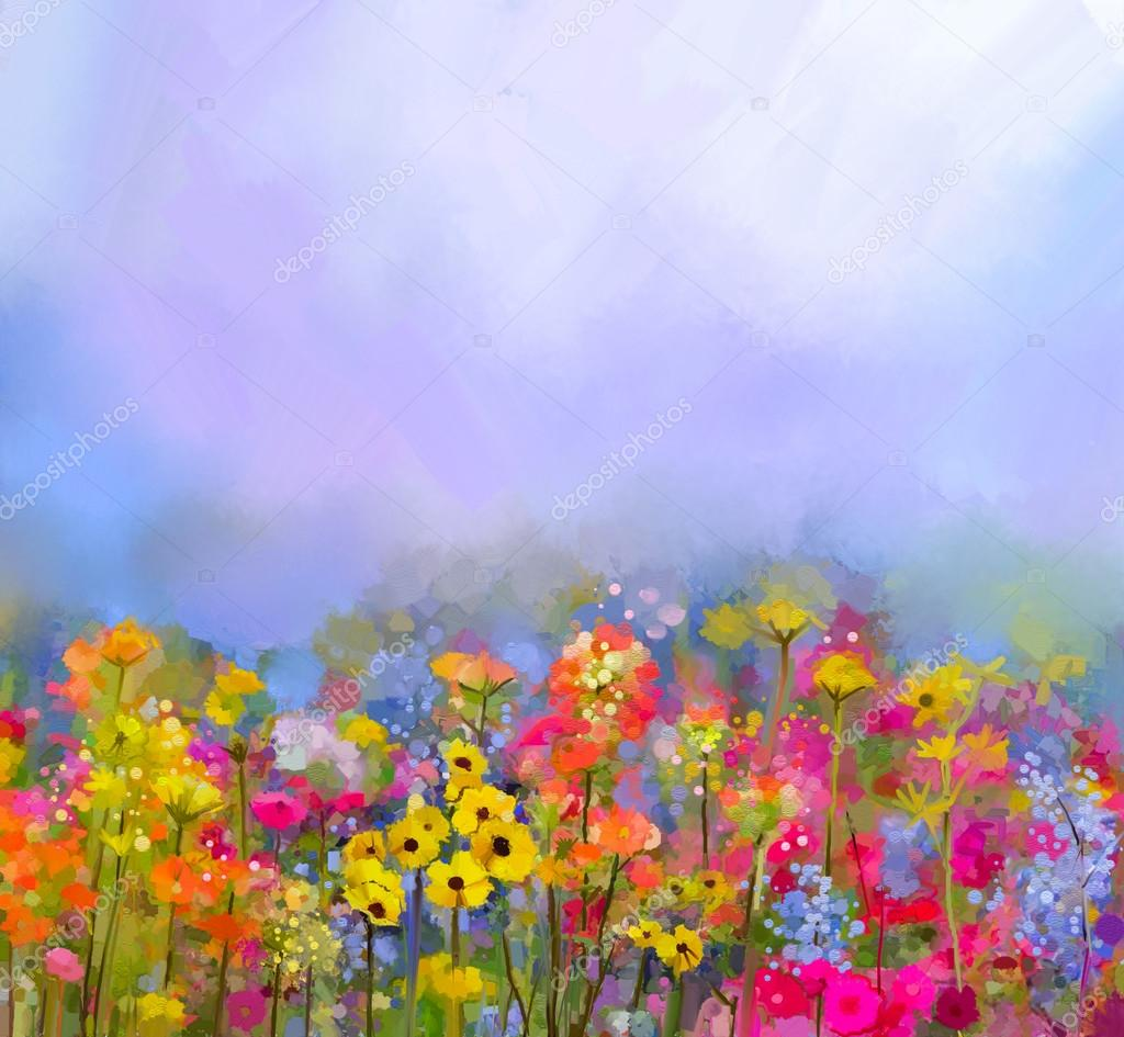 oil painting of summer-spring flowers. Cornflower, daisy flower in fields. Meadow landscape with wildflower
