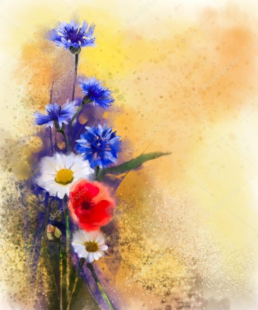 Watercolor red poppy flowers, blue cornflower and white daisy painting